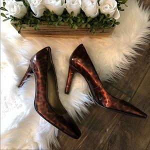 Marc Fisher Leopard Brown Glossy Heels